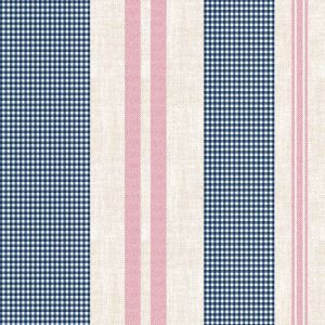 Navy with Red Gingham Checkered Pattern Printed Wool Peach Fabric by the Yard