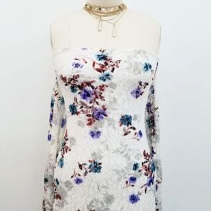 Off White Lavender Medium Floral Printed Lace Pattern -  Tea Rose by the Yard