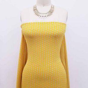 Sunny Gold Green Geometric Pattern Printed Bubble Chiffon Fabric by the Yard