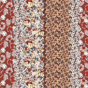 """Redwood Apricot Floral Design Printed 55"""" Light-Weight Rayon Challis Fabric by the Yard"""