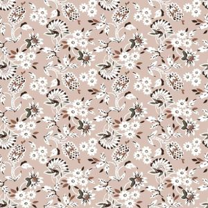 Rose Cloud Caramel Small Flowers Pattern Printed on Stretch Satin Fabric