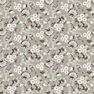 Sage Caramel Small Flowers Pattern Printed on Stretch Satin Fabric