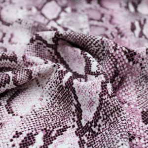 Off White Dusty Lilac Snake Skin Design Printed Scuba Crepe Techno Knit Fabric by the Yard