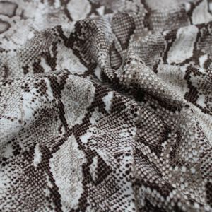 Off White Neutral Snake Skin Design Printed Scuba Crepe Techno Knit Fabric by the Yard