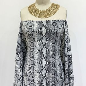 Off White Grey Snake Skin Design Printed Scuba Crepe Techno Knit Fabric by the Yard