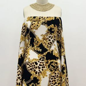Off White Gold Mix Animal Skin Pattern Printed Bubble Chiffon Fabric by the Yard