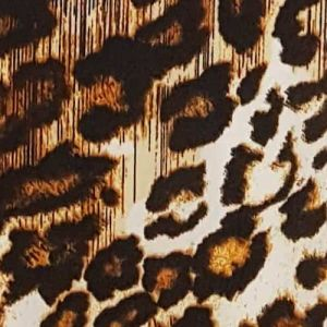 Ecru Gold Leopard Prints on Wool Dobby  Fabric