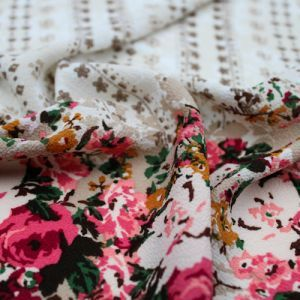 Champagne Rose Floral Border Design Printed Bubble Chiffon Fabric by the Yard