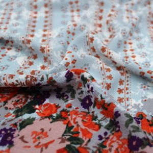 Dusty Blue Maple Floral Border Design Printed Bubble Chiffon  Fabric by the Yard