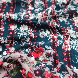 Snorkel Blue Red Floral Border Design Printed Bubble Chiffon  Fabric by the Yard