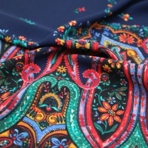 Navy Red Floral Bohemian Paisley Pattern Printed Poly Moroccan Fabric by the Yard