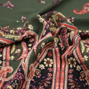 Olive Ginger Floral Bohemian Paisley Pattern Printed Poly Moroccan Fabric by the Yard
