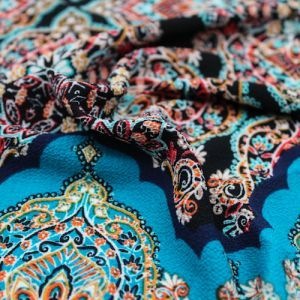 Black Teal Mosaic Tile Design Printed Bubble Chiffon  Fabric by the Yard