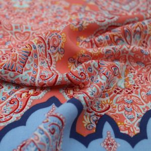 """Peach Blue Border Placement Design Printed 55"""" Light-Weight Rayon Challis Fabric"""