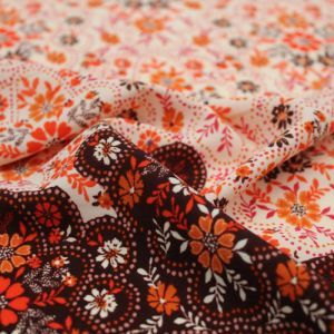 Cream Orange Floral Border Placement Pattern Printed Wool Peach Fabric by the Yard