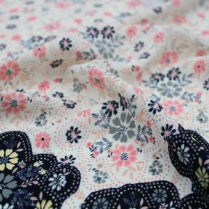 Ivory Dusty Pink Floral Border Placement Pattern Printed Wool Peach Fabric by the Yard
