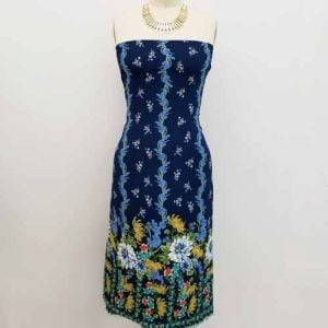Navy Blue Floral Border Placement Pattern Printed Bubble Chiffon  Fabric by the Yard