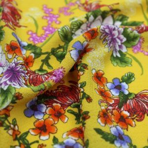 Sunny Gold Pink Floral Border Placement Design Printed Bubble Chiffon  Fabric by the Yard