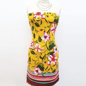 Golden Mustard Floral with Border Pattern Print on Wool Peach Fabric by the Yard