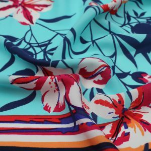 Sky Blue Fuchsia Floral with Border Pattern Print on Wool Peach Fabric by the Yard