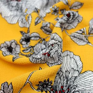 Golden Mustard Olive Floral Border Placement Design Printed Bubble Chiffon  Fabric by the Yard