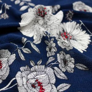 Navy Blue Floral Border Placement Design Printed Bubble Chiffon  Fabric by the Yard