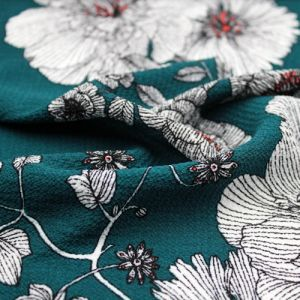 Teal Wine Floral Border Placement Design Printed Bubble Chiffon  Fabric by the Yard