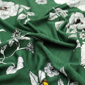 Army Green Gold Border Placement Pattern Printed Rayon Spandex Jersey Knit Fabric