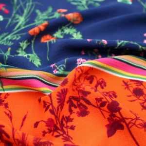 Navy Burnt Orange Floral Border Design Printed Bubble Chiffon  Fabric by the Yard