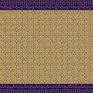 Golden Mustard Navy Tile with Floral Pattern Printed on Chiffon Fabric