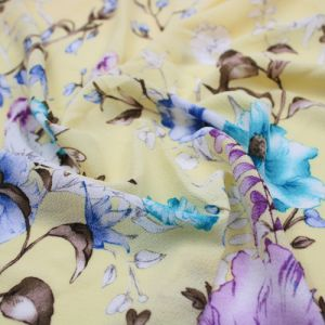 Banana Blue Large Floral Design Printed Bubble Chiffon  Fabric by the Yard