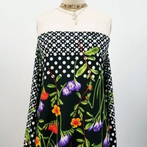 Black Violet Floral with Polka Dots Design Printed Scuba Crepe Techno Knit Fabric by the Yard