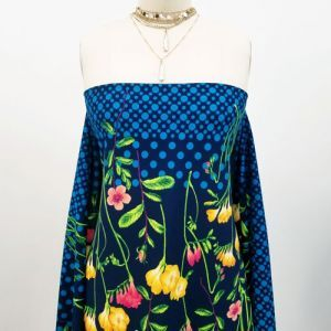 Navy Yellow Floral with Polka Dots Design Printed Scuba Crepe Techno Knit Fabric by the Yard