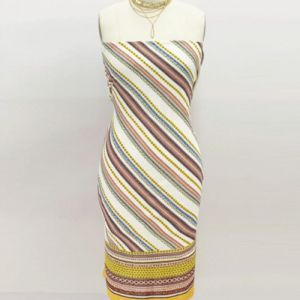 Off White Yellow Diagonal Stripes Pattern Printed on Wool Dobby Fabric
