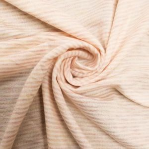 Peach Light French Terry Striped Poly Rayon Spandex Fabric