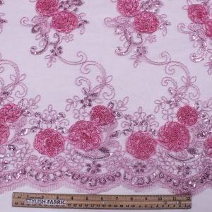 Pink 3D Melissa Double Floral Embroidered with Sequin Foil Mesh Scalloped Lace Fabric