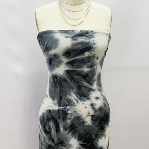 Ecru Silver Black Tie Dye Pattern Printed Double-Sided Brushed DTY Stretch Fabric by the Yard