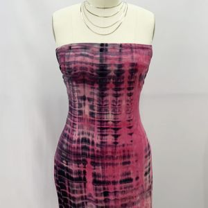 Fuchsia Charcoal Tie Dye Pattern Printed Double-Sided Brushed DTY Stretch Fabric by the Yard