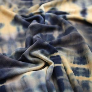 Honey Gold Charcoal Tie Dye Pattern Printed Double-Sided Brushed DTY Stretch Fabric by the Yard