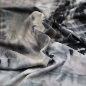 Olive Black Tie Dye Pattern Printed Double-Sided Brushed DTY Stretch Fabric by the Yard