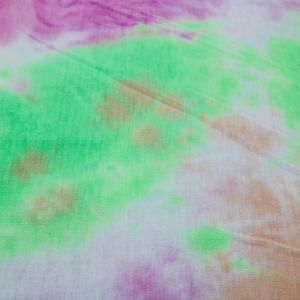 Pistachio Pink Peach Tie Dye Pattern Printed French Terry Spandex Fabric