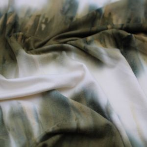 Olive Tie Dye Ombre Print on  Double Sided Brushed DTY Stretch Fabric by the Yard