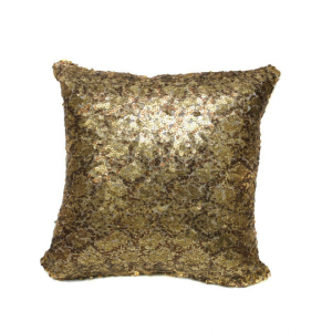 Python Gold Sequin 16x16 Pillow with Shimmer Pillow Sham Accent Pillow