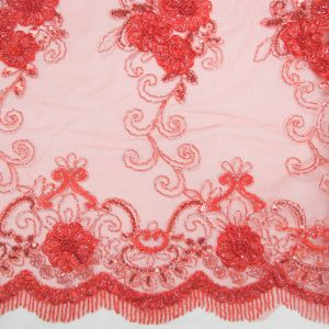 Red 3D Hyacinth Trio Floral Sequin Foil Embroidered 54'' on Mesh Scalloped Lace Fabric