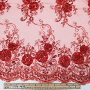 Red 3D Melissa Double Floral Embroidered with Sequin Foil Mesh Scalloped Lace Fabric