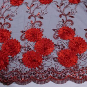 Elegant Red and Black 3 Border Floral Lace With Flower Sequins Lace Fabric 3D