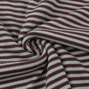 Red Brown Heather Gray Light Striped Rayon Spandex Thermal Fabric