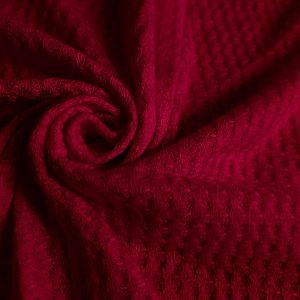 Red Deep Waffle Rayon Spandex Open Knit Fabric