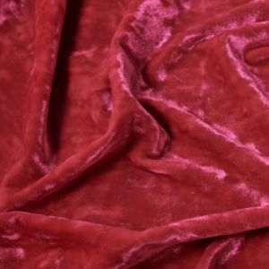 Red Crushed Velvet 60'' Poly Spandex Fabric