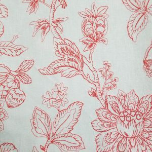 Red Summer Landscape of Flowers on Stitch Embroidered Pattern Canvas Fabric